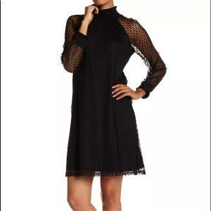 Nina Leonard Shirred Mock Dot Dress